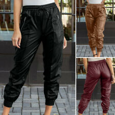 Womens Elastic Waist Leather Trousers Casual Loose Tapered Cargo Pants Plus Size
