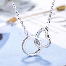 Muye 925 Sterling Silver Anillo Hebilla De Amor Corazón Colgante Collar de mujer NUEVO