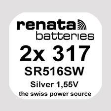 2x Renata 317 Uhren-Batterie Knopfzelle SR516SW Silberoxid Blisterware Neu