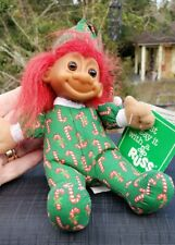 """Vintage Christmas Candy CaneTroll Doll Red Hair 7"""" Holiday Russ EUCWT"""