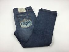Womens People for Peace Embroidered Jeans Sz 30 Distressed EUC FREE SHIP K4