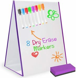 Magnetic Dry Erase Desktop Drawing White Board Easel with 8 Markers & Eraser