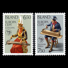 """Iceland 1985 - Europa Stamps """"Music"""" Instruments - Sc 606/7 MNH"""