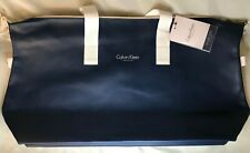 Calvin Klein Tote Weekend Duffle Bag ~Navy + White ~ Gym~ Workout ~ Travel ~ NEW