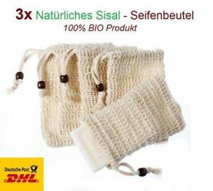 3X Seifenbeutel Sisal Seifensäckchen Seifennetz Peeling-Schwamm Netz Bio Natur