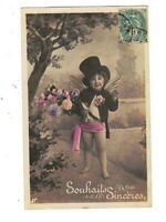 ME3763 LITTLE BOY DRESSED AS ANGEL WITH TOP HAT AND DINNER-JACKET