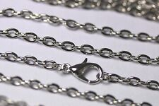 Wholesale 11 Pcs Antique Silver Plated Flat Cable Chains 24 Inch Necklace Lot