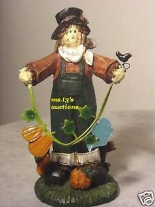 SCARECROW figure LEAVES VINE FALL PUMPKINS WATERING CAN