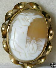 Scenic Figural House Victorian Antique Shell Cameo