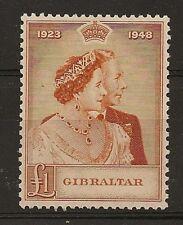 GIBRALTAR : 1948 Silver Wedding £1 unmounted mint