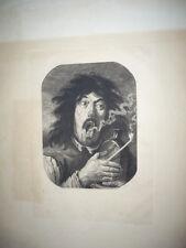 GRAVURE 1880 FUMEUR D'OPIUM