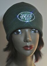 New York Jets Bling Beanie Knit Hat Cap Worlds Finest Crystal Rhinestones