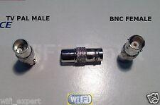 1x Nickel BNC female jack to IEC PAL DVB-T TV male plug RF adapter connector USA