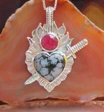 Anhänger Schneeflocken Obsidian Sterling Silber 925 Herz von Schwert durchbohrt
