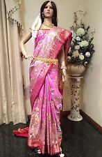 Banaras Koorai Bridal Indian Silk Saree Purple Pink Maroon Gold Bollywood Sari