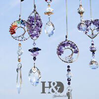 Handmade Crystal Suncatcher Clear Ball Prisms Tree of Life Pendant Rainbow Maker