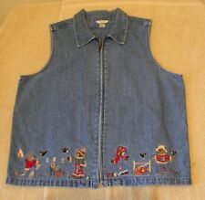 Christopher & Banks Size M Zip Front Denim Shirt Vest w/Fall Embroidery