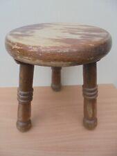 Vintage solid wood round milking stool, 3 legs, chunky rustic, craftsman