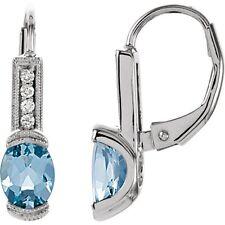 Genuine Aquamarine Gems & Diamonds 14K Solid White Gold Lever Back Stud Earrings