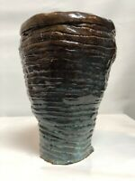 Studio Art Pottery Vase Drip Glaze Unusual Hand Thrown Raw Art Primitive Heavy 8