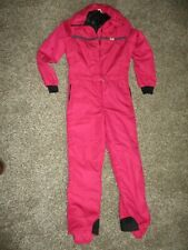VINTAGE WOMENS PINK CB SPORTS ONE PIECE SKI SUIT sz LARGE made in USA 1984