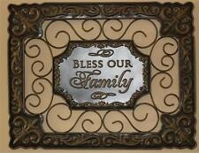 "New Metal Tuscan Style Fleur de Lis Wall Art Plaque Picture ""Bless Our Family"""