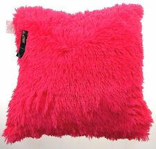 Neon Pink Shag Pillow Plush Throw 20x20 Polyester Living Room Sofa Bed Decor