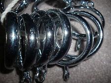 Chrome metal curtain rings for pole, Internal dia 35mm x 12 rings
