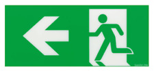 T&B Stanilite Pictograph Insert 24M Green Running Man LEFT from Here Arrow Sign