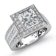 Halo Pave Set Princess Diamond Lustful Engagement Ring GIA G VS2 Platinum 2.75ct