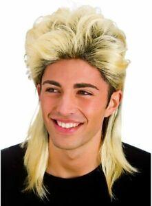 1 New Blonde 80s Mullet Tiger King Joe Exotic Fancy Dress Costume Wig USA Stock