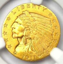 1911 Indian Gold Quarter Eagle $2.50 Coin - NGC Uncirculated Details (UNC MS)!