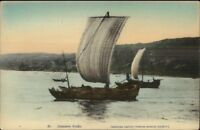 Japan - Japanese Junk Sailing Ship c1910 Hand Colored Postcard