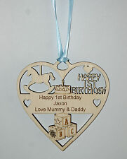 PERSONALISED BOYS 1ST BIRTHDAY PLAQUE -ENGRAVED WITH THE WORDING OF YOUR CHOICE