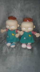 """Vintage Mattel 1998 Rugrats Lil and Phil Plush 12"""" Twin Kids Baby Dolls vtg cute"""