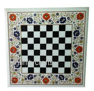 Heritage Art with Gemstones Chess Table Top White Coffee Table Size 18 Inches