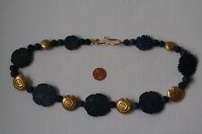 Lapis Lazuli-Kette(Blumen+Kugel, Graviert, L=51cm) L-0076/L