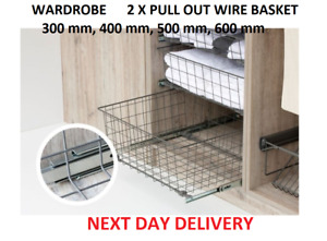 PULL OUT WIRE BASKET DRAWER SET OF 2 WARDROBE FITTING ORGANISER W-06 D