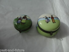 TWO ANTIQUE HAND PAINTED PORCELAIN DRESSER JARS, DUTCH  BRITTANY COSTUMES