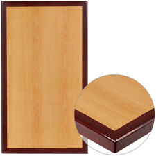 """24"""" x 42"""" Rectangular 2-Tone Cherry Resin Table Top with 2"""" Thick Mahogany Edge"""