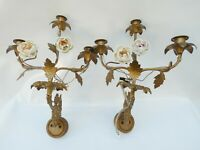 2 Brass Porcelain Flowers Church Sconces 19th / Appliques Eglise Chandelier