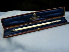 ANTIQUE SILVER BRAMAH DIP PEN AMETHYST THISTLE CALLIGRAPHY LETTER WRITING BOXED