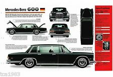 MERCEDES-BENZ 600 GROSSER SPEC Hoja / FOLLETO: 1963 ,