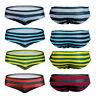 Men Swimming Briefs Sexy Striped Board Shorts Beachwear Swimwear Swimsuit Trunks