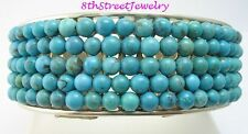 Whitney Kelly Sterling Silver 925 Turquoise Beaded Cuff Bracelet 69.5 grams