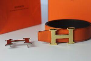 Hermes Mens Leather Belt Reversible Orange&Black With 38mm H Buckle 85cm