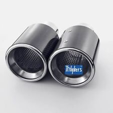 """carbon fiber 4"""" outlet exhaust tips resonated round for VW GOLF JETTA Scirocco"""