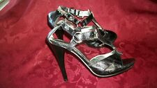 WILD ROSE WOMEN'S BLACK STRAPPY CHAINS HEELS SHOES  SIZE 9