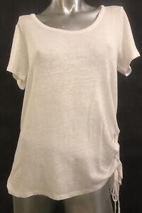 S CHASER White Asymmetric Drawstring Short Sleeved Top Blouse T-Shirt TShirt Tee