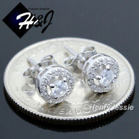 MEN WOMEN 925 STERLING SILVER 7MM LAB DIAMOND BLING ROUND STUD EARRING*E107